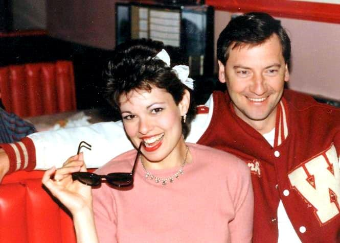 The Secret To Growing Old Gracefully, young couple dressed for 50s or 60s era, 50s dress-up party, glamorous Dad and Mom